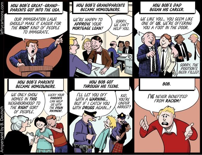 "this simple comic strip concisely explains the complexities of  the concept of ""white privilege"" brilliantly explained in peggy mcintosh s essay unpacking the invisible backpack can be a difficult one to grasp"
