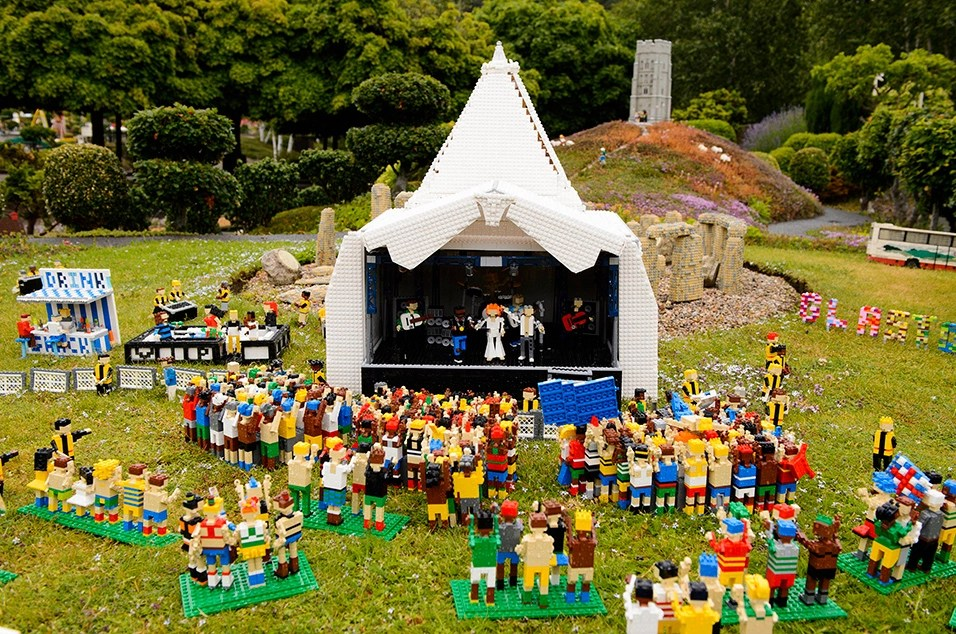 LEGO Glastonbury music festival, complete with Kanye, Kim, and Dave Grohl