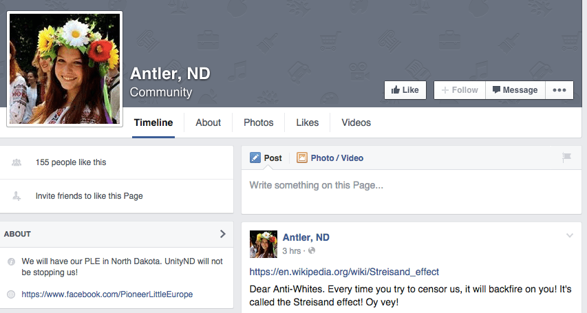Screenshot of a page that seems to be maintained by supporter's of Cobb's planned white supremacist community in Antler, ND.