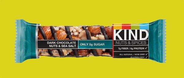 Dark Chocolate Nuts Sea Salt Kind bars yummy and only