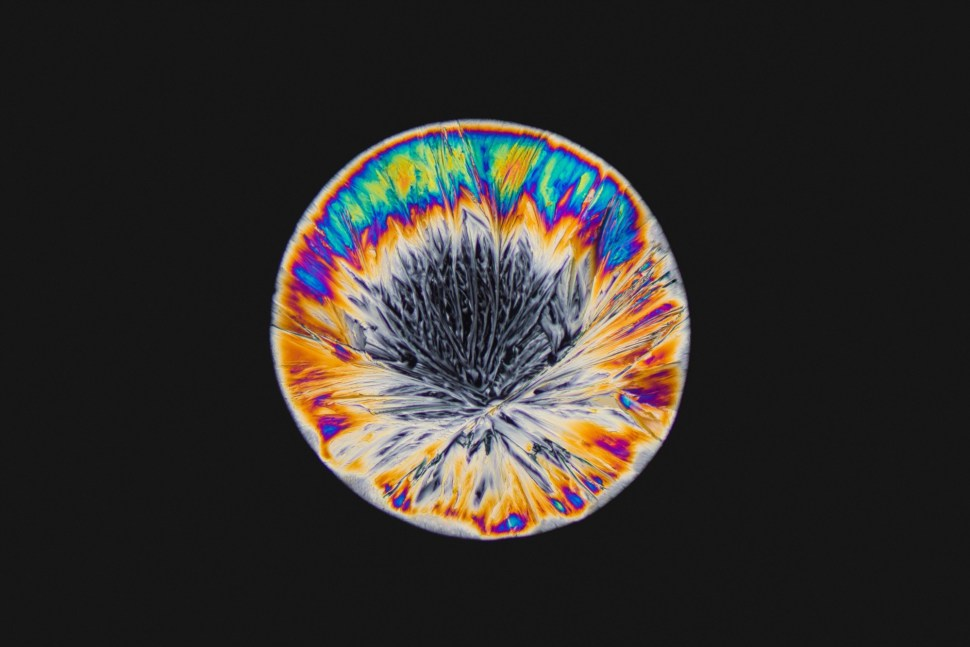 MDMA Crystals ∅ Cross polarisation microscope with 200x enlargement.