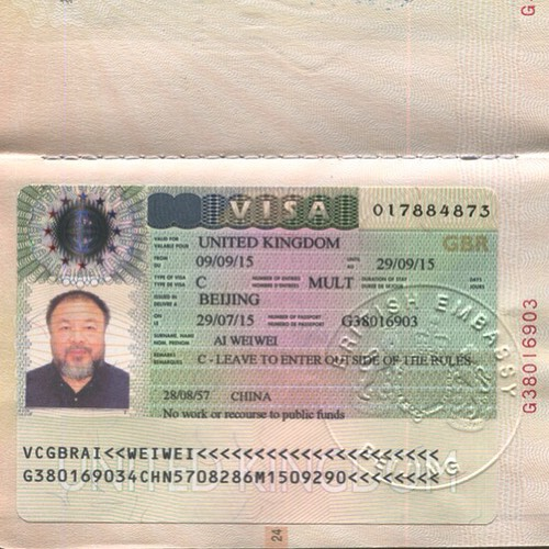 An image of Ai Weiwei's passport, posted  to his Instagram account on July 29, 2015.