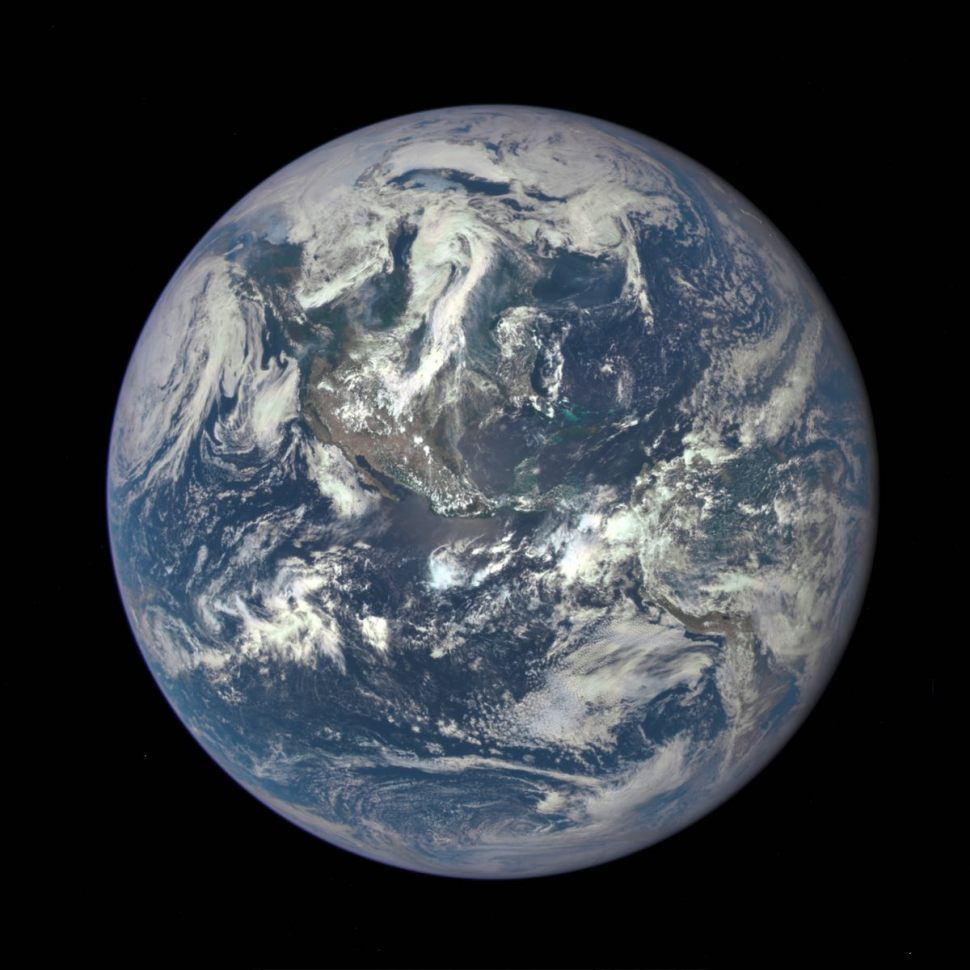 Earth as seen on July 6, 2015 from a distance of one million miles by a NASA scientific camera aboard the Deep Space Climate Observatory spacecraft. Image: NASA