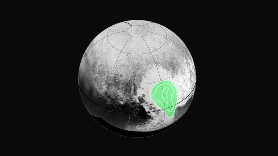 "Peering closely at the ""heart of Pluto,"" in the western half of what mission scientists have informally named Tombaugh Regio (Tombaugh Region), New Horizons' Ralph instrument revealed evidence of carbon monoxide ice. The contours indicate that the concentration of frozen carbon monoxide increases towards the center of the ""bull's eye."" [NASA]"