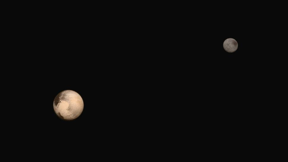 The latest two full-frame images of Pluto and Charon were collected separately by New Horizons during approach on July 13 and July 14, 2015. The relative reflectivity, size, separation, and orientations of Pluto and Charon are approximated in this composite image, and they are shown in approximate true color.