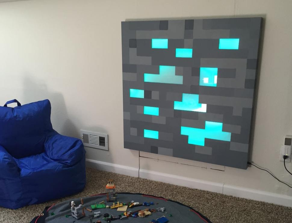 Admirable Father Builds Glowing Life Sized Minecraft Block For Sons Ocoug Best Dining Table And Chair Ideas Images Ocougorg