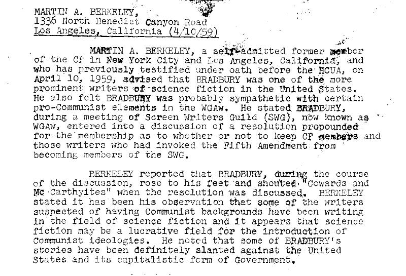 """The FBI kept files on author Ray Bradbury: """"Definitely slanted against the United States"""""""