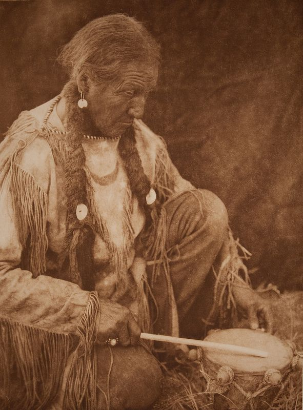 """Peyote Drummer,"" photogravure, Edward Sheriff Curtis, 1927."