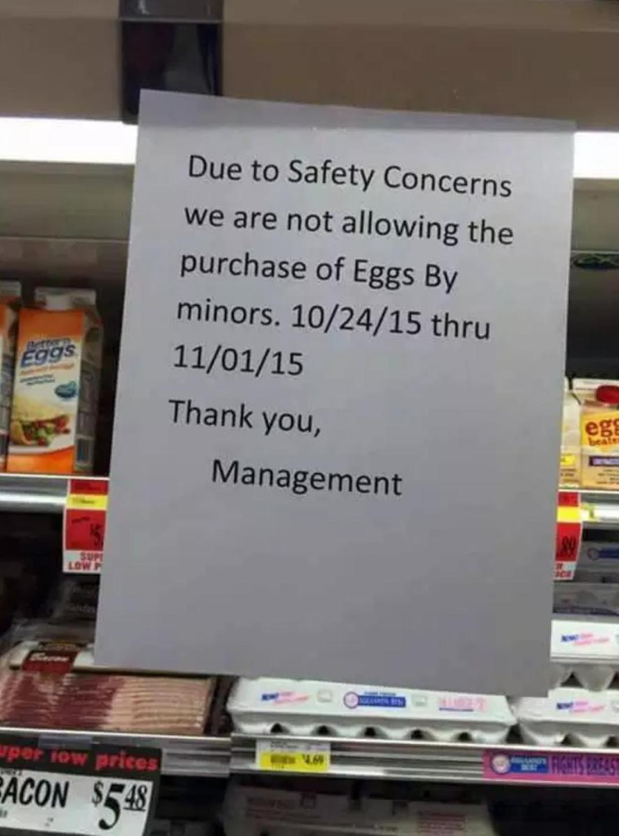 store not allowing purchase of eggs by minors over halloween - Halloween Store New Jersey