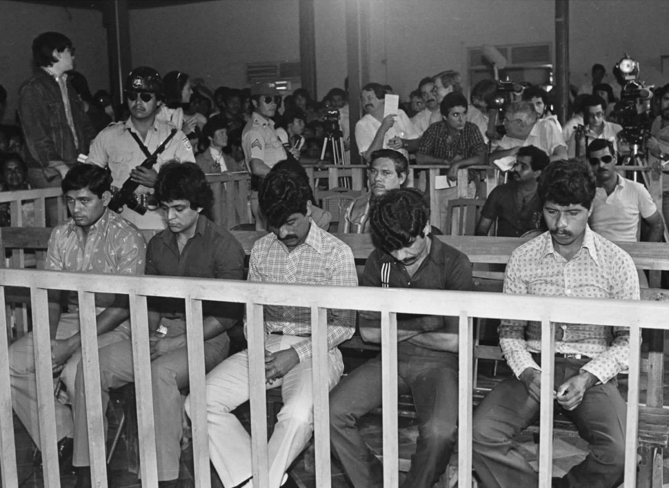 Archival photo of 5 ex-members of El Salvador's national guard accused of raping and murdering three US nuns and one lay worker in 1980.