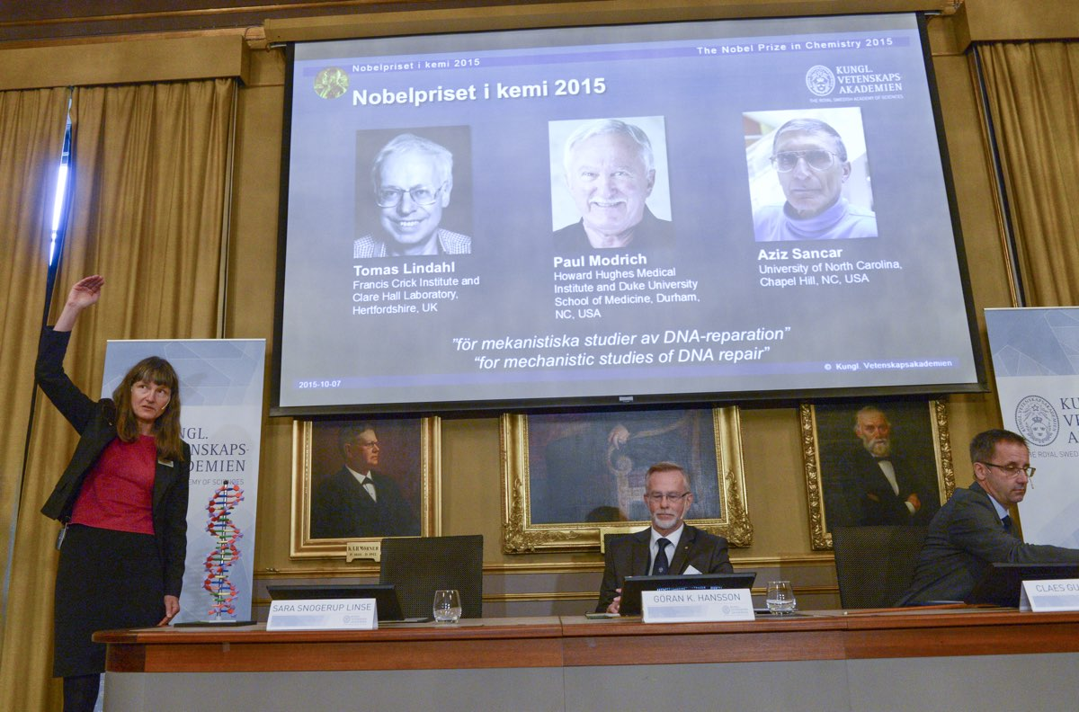 Professors Sara Snogerup Linse, Goran K. Hansson and Claes Gustafsson, members of the Nobel Assembly, reveal the 2015 winners at the Royal Swedish Academy in Stockholm. [Reuters]