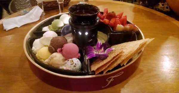 Chocolate fondue ice cream platter at Fanny's in Ho Chi Minh City