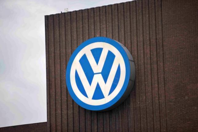 Volkswagen logo is seen at a power plant in Wolfsburg, Germany. REUTERS/Axel Schmidt