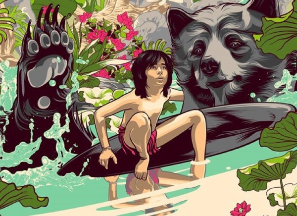 Detail of a poster for 'The Jungle Book' by artist Vincent Aseo for Disney
