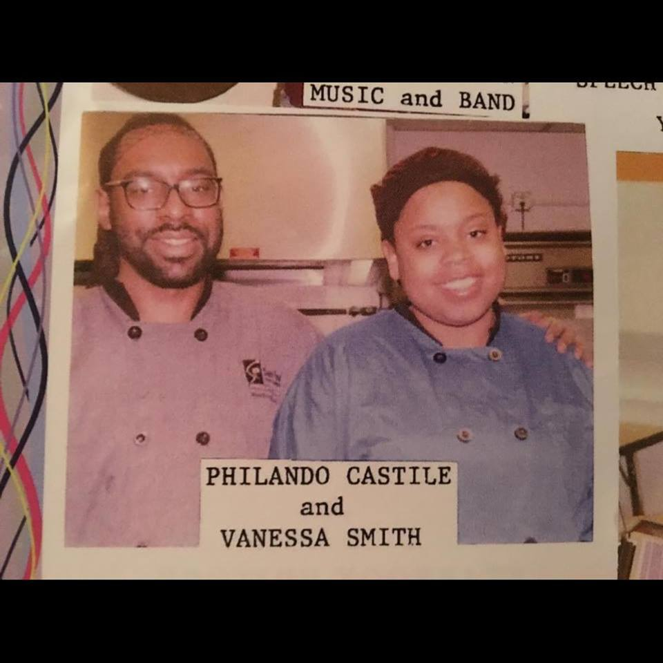 Philando Castile (L) with a colleague in undated J.J. Hill Montessori Magnet School yearbook photo.