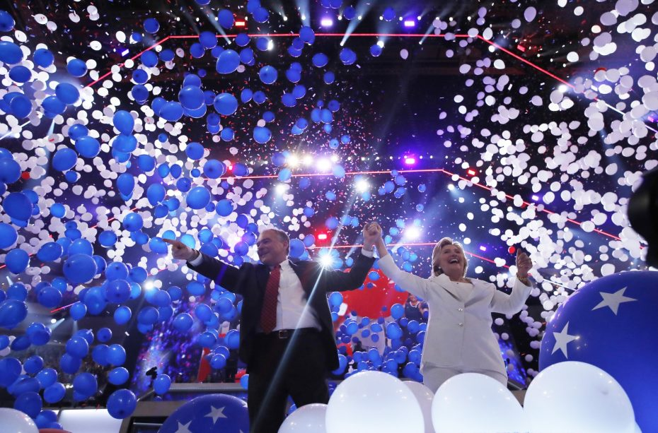 Democratic presidential nominee Hillary Clinton and her vice presidential running mate Senator Tim Kaine celebrate among balloons after she accepted the nomination on the fourth and final night at the Democratic National Convention in Philadelphia