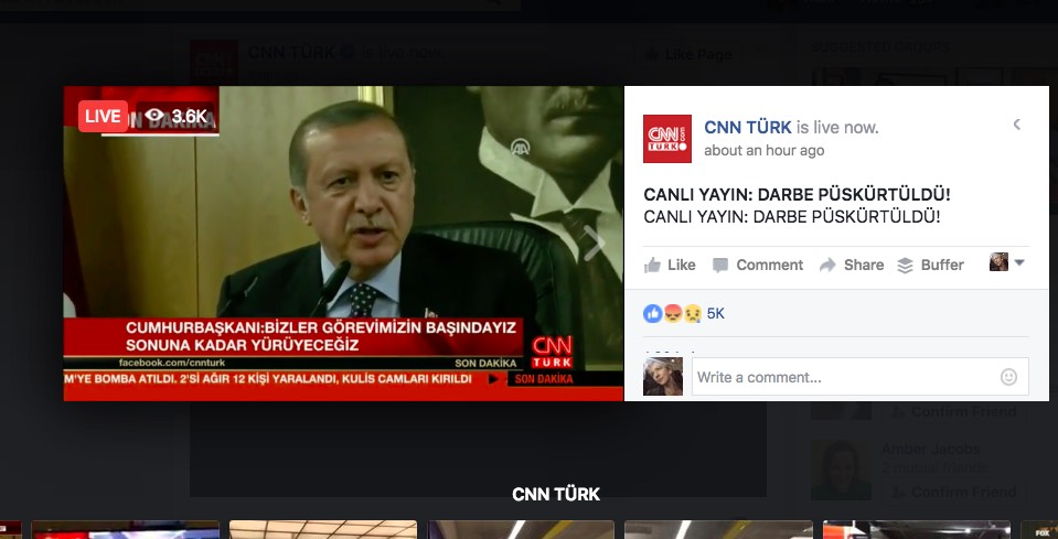 Turkey President Erdogan addresses the nation via CNN Turk, which is broadcasting on Facebook Live during the coup