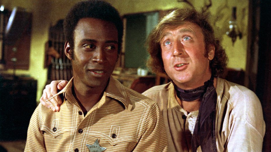 "Gene Wilder (right) starred with Cleavon Little in ""Blazing Saddles."" Warner Bros./Courtesy Neal Peters Collection"