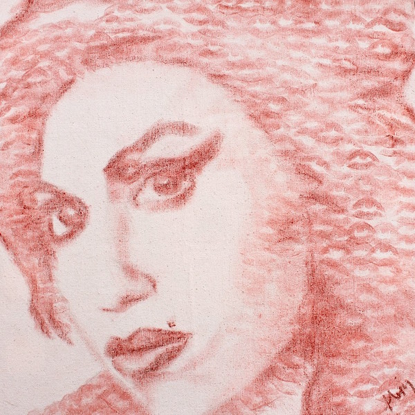 Pointillist portraits made of lipsticked kisses