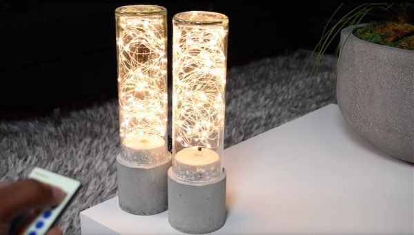 Diy Concrete Lamps With Led String Lights Boing Boing