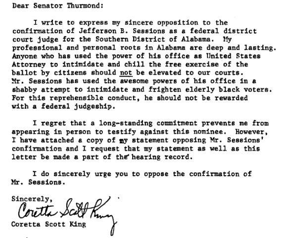 Coretta Scott King S Letter Re Sessions