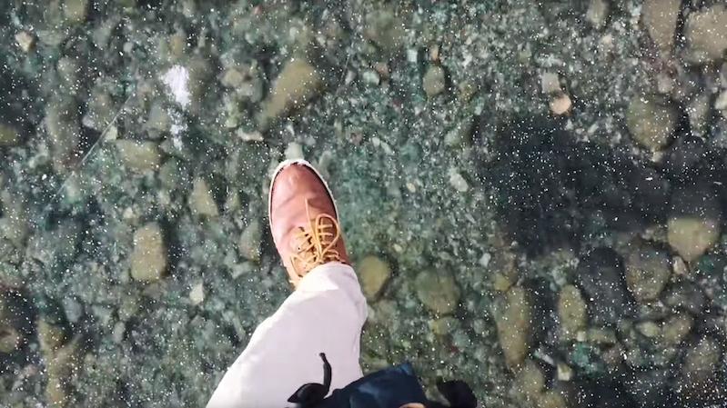 Walking on a crystal-clear frozen lake