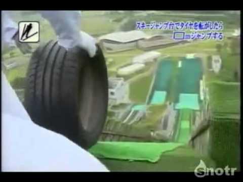 Automotive tires sent down a ski jump