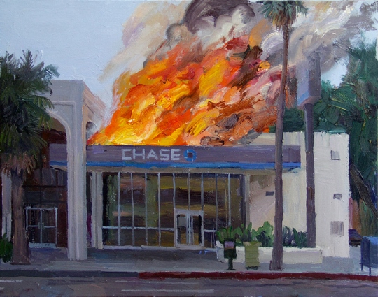 artist specialized in paintings of chase bank on fire. Black Bedroom Furniture Sets. Home Design Ideas