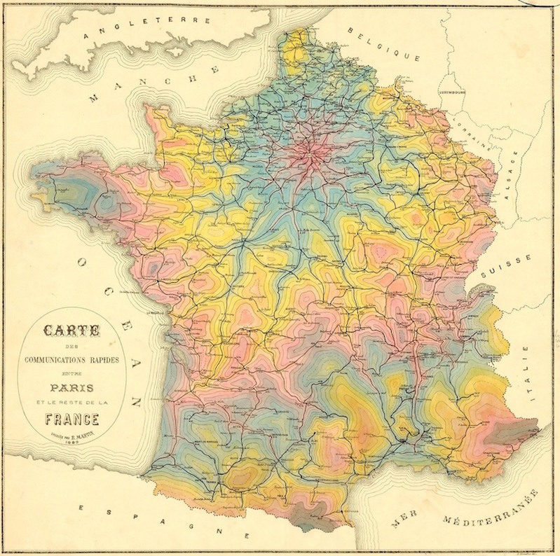 Vintage Isochrone Maps Show 19th-century Travel Times