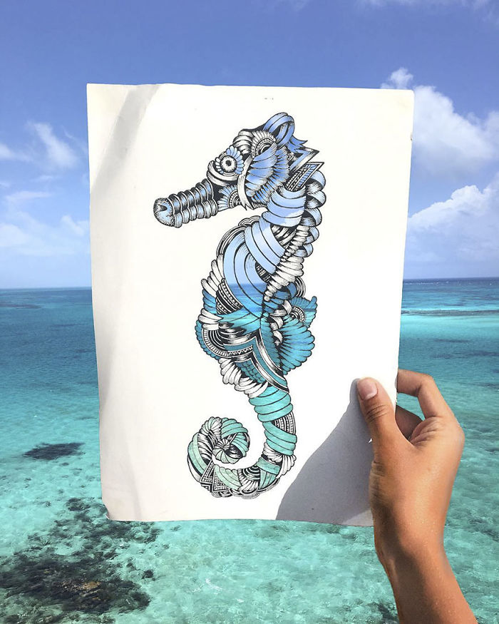 Intricate paper cutouts of animals, colored by nature