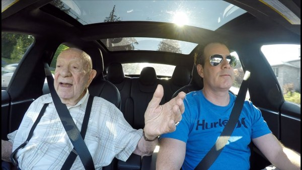 97-year-old man takes his first ride in a Tesla