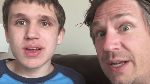 Dad and son with autism have a conversation