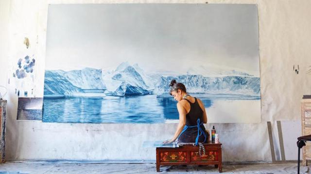 Timelapse of pastel artist creating large glacier image