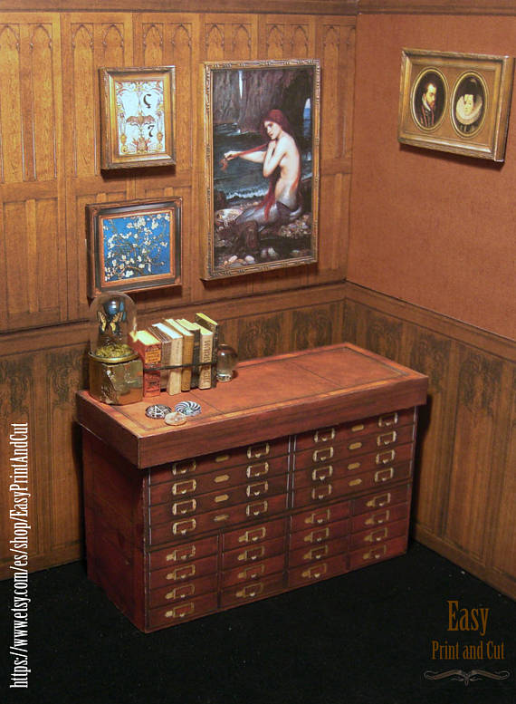... Papercraft Furniture, Housewares And Decor For Haunted Dollhouses:  Grimoires, Vampire Hunting Kits, Spooky Wallpaper And Wainscotting, Tiny  Taxidermy, ...