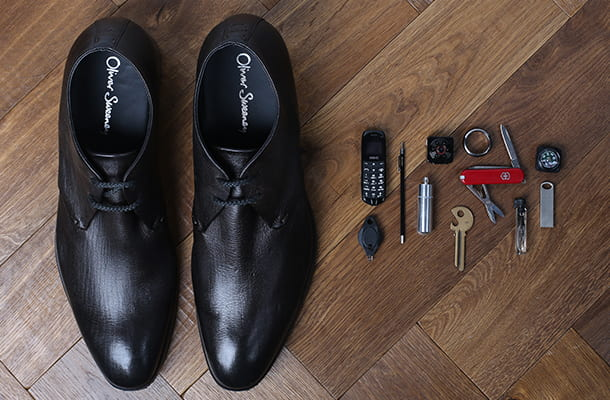 Dress shoe with secret gadget compartment