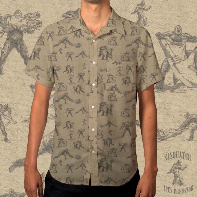 A shirt that depicts Sasquatch as a bloodthirsty apex predator