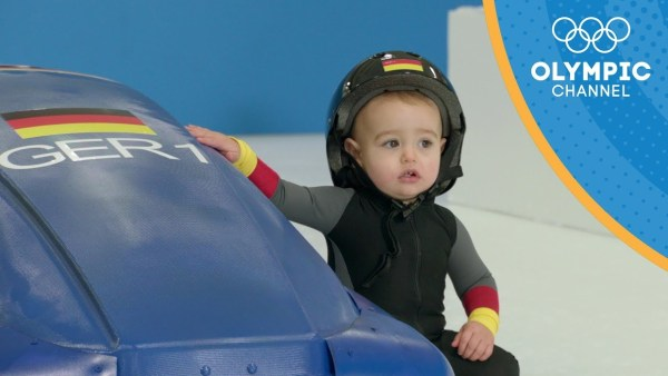 Watch cute babies try winter Olympic sports