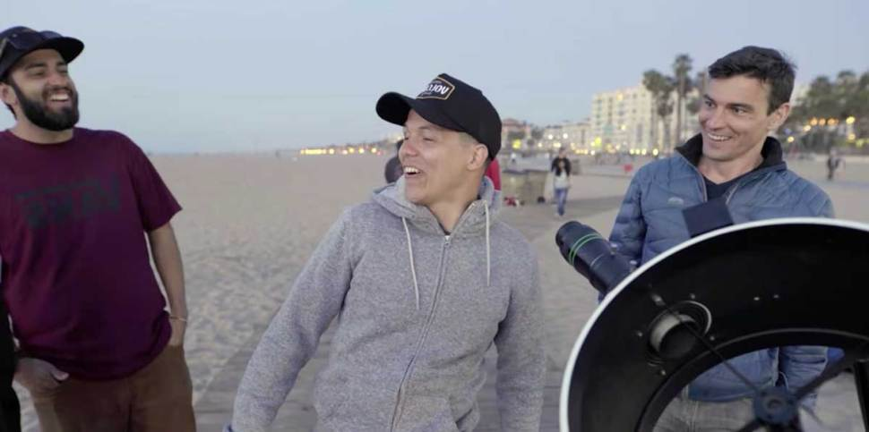 Watch - people react to looking at the moon through a ...