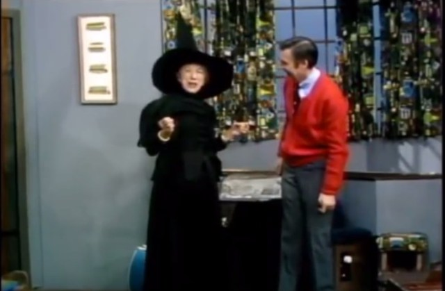 """""""Girls and boys like to play witches, don't they?"""" Mr. Rogers interviews Margaret Hamilton, aka the Wicked Witch of the West"""