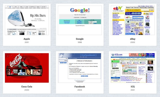 What popular websites looked like 20 years ago