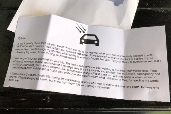 People Who Live In The Lgbt Identified Sydney Neighborhood Of Darlinghurst Are Getting Letters Through Their Door Signed By Jesus That Blame People