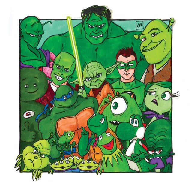 Pop culture characters organized by color
