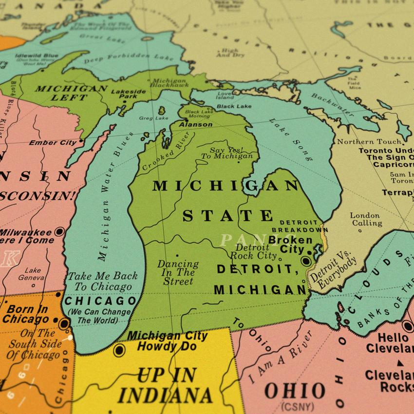 A cool retro map of USA song les / Boing Boing Chicago Map Of The World On With It on italy on world map, bangkok on world map, dead sea on world map, amazon river on world map, washington dc on world map, vienna on world map, 1893 chicago world's fair map, cape town world map, chicago on north america map, new york city on world map, moscow on world map, istanbul on world map, england on world map, chicago on the water, london on world map, madrid world map, chicago on state map, chicago on usa map, chicago on map of world, hawaii on world map,