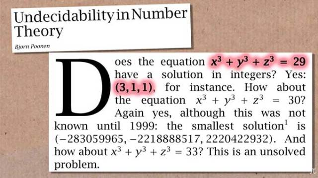 A mathematician found a solution to the much-studied problem 33 = x³ + y³ + z³