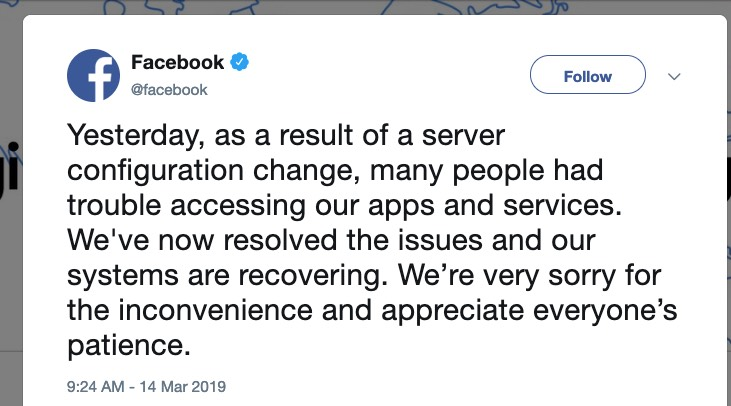 Facebook + Instagram + WhatsApp outage 'resolved,' blamed on 'server configuration change'