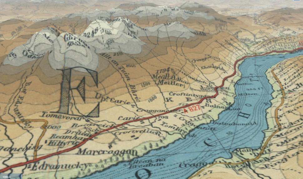 Old maps of Scotland impressed upon 3D elevation models