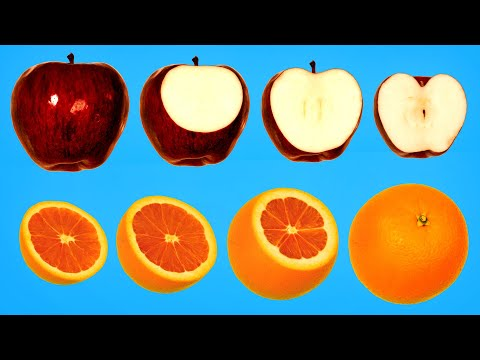 Revealing the innards of fruits and vegetables with stop-motion animation