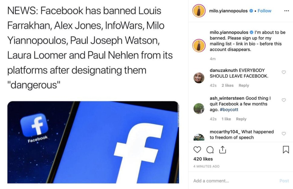 Facebook bans Alex Jones, Milo Yiannopoulos, Laura Loomer, Louis Farrakhan, as  dangerous