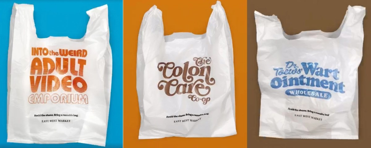 Grocer designed embarrassing plastic bags to shame shoppers into bringing reusable ones