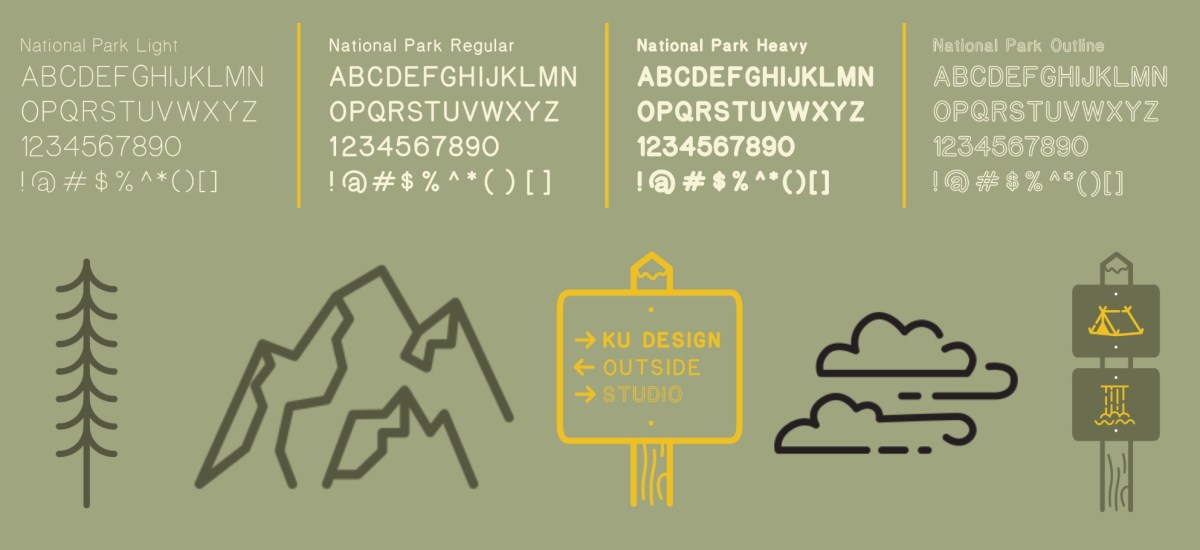 "Free ""National Park"" typeface that looks like the wood signs on the trails"